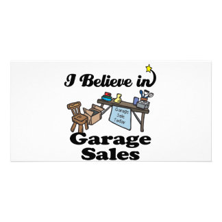 i believe in garage sales personalized photo card