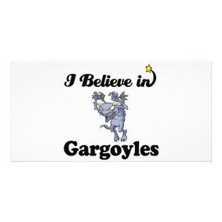 i believe in gargoyles customized photo card