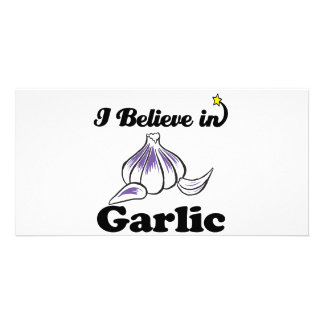i believe in garlic personalized photo card