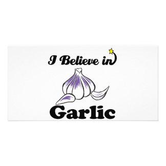 i believe in garlic photo cards