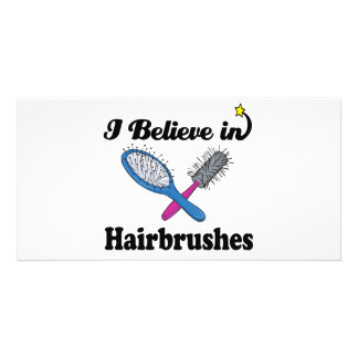 i believe in hairbrushes personalized photo card