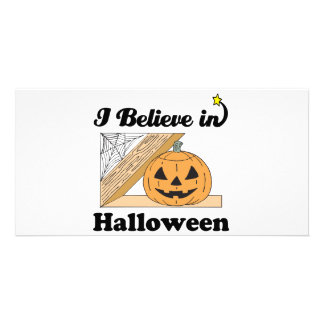 i believe in halloween customized photo card