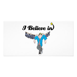 i believe in hangin out personalized photo card