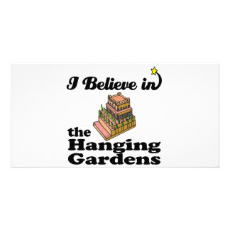 i believe in hanging gardens customized photo card
