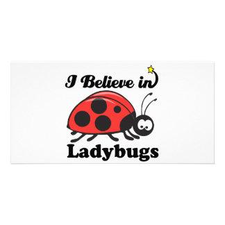 i believe in ladybugs customized photo card