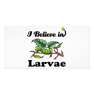 i believe in larvae photo card template