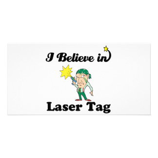 i believe in laser tag personalized photo card