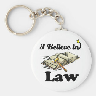 i believe in law basic round button key ring