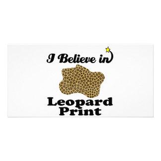 i believe in leopard print picture card