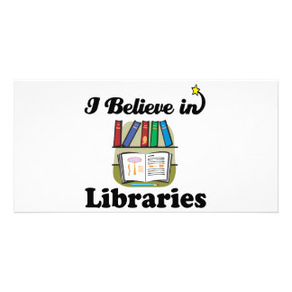 i believe in libraries photo card