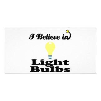i believe in light bulbs photo card