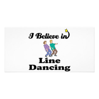 i believe in line dancing personalised photo card