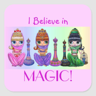 I Believe in Magic! Cute Big Eye Genie Dolls Square Sticker
