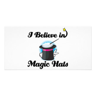 i believe in magic hats customized photo card