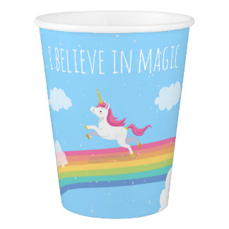 I Believe in Magic Unicorn Rainbow Paper Cup