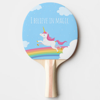 I believe in Magic Unicorn Rainbow Personalized Ping Pong Paddle