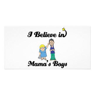 i believe in mamas boys customized photo card
