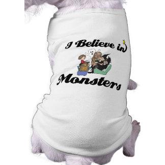 i believe in monsters sleeveless dog shirt