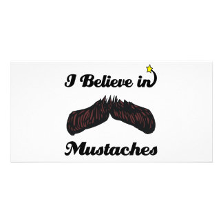 i believe in mustaches customised photo card