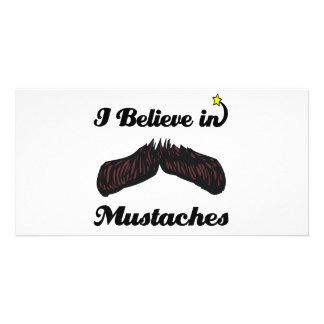 i believe in mustaches custom photo card
