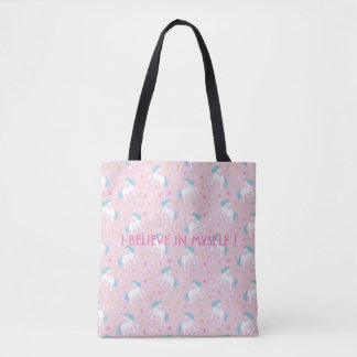 I believe in myself unicorn design tote bag