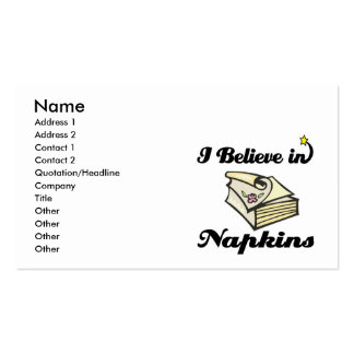 i believe in napkins business card template