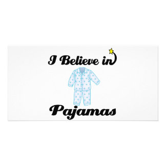 i believe in pajamas custom photo card