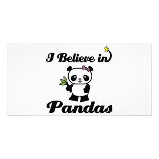 i believe in pandas personalised photo card