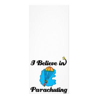 i believe in parachuting customized rack card