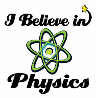 i believe in physics standing photo sculpture