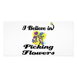 i believe in picking flowers photo card template