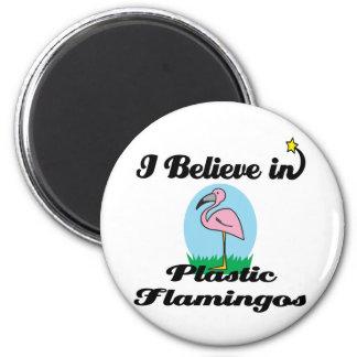 i believe in plastic flamingos refrigerator magnet