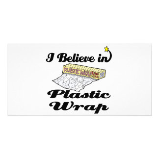 i believe in plastic wrap picture card
