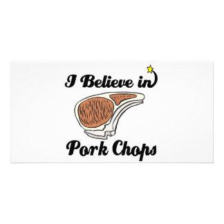 i believe in pork chops personalised photo card