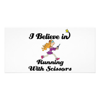 i believe in running with scissors girl customized photo card