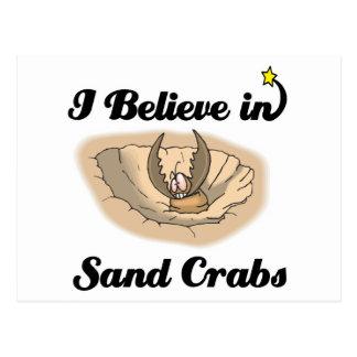i believe in sand crabs postcard