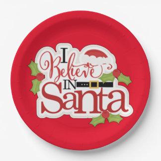 I Believe In Santa 9 Inch Paper Plate
