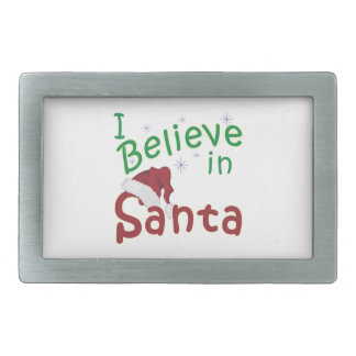 I Believe in Santa Rectangular Belt Buckle