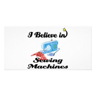 i believe in sewing machines photo card template