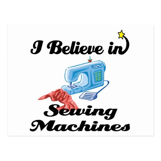 i believe in sewing machines postcards