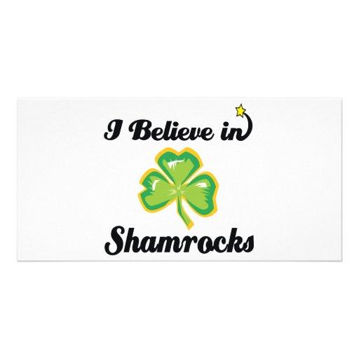 i believe in shamrocks customized photo card