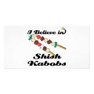 i believe in shish kabobs personalised photo card