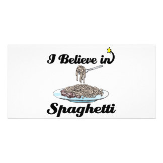 i believe in spaghetti picture card