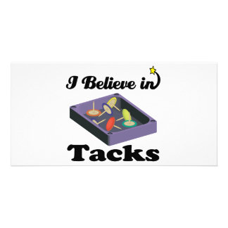 i believe in tacks personalized photo card
