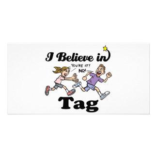 i believe in tag custom photo card