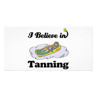 i believe in tanning custom photo card