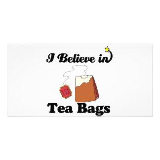i believe in tea bags photo card template