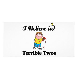 i believe in terrible twos personalized photo card
