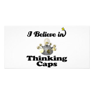 i believe in thinking caps photo card