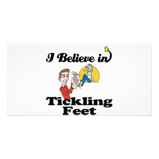 i believe in tickling feet photo greeting card